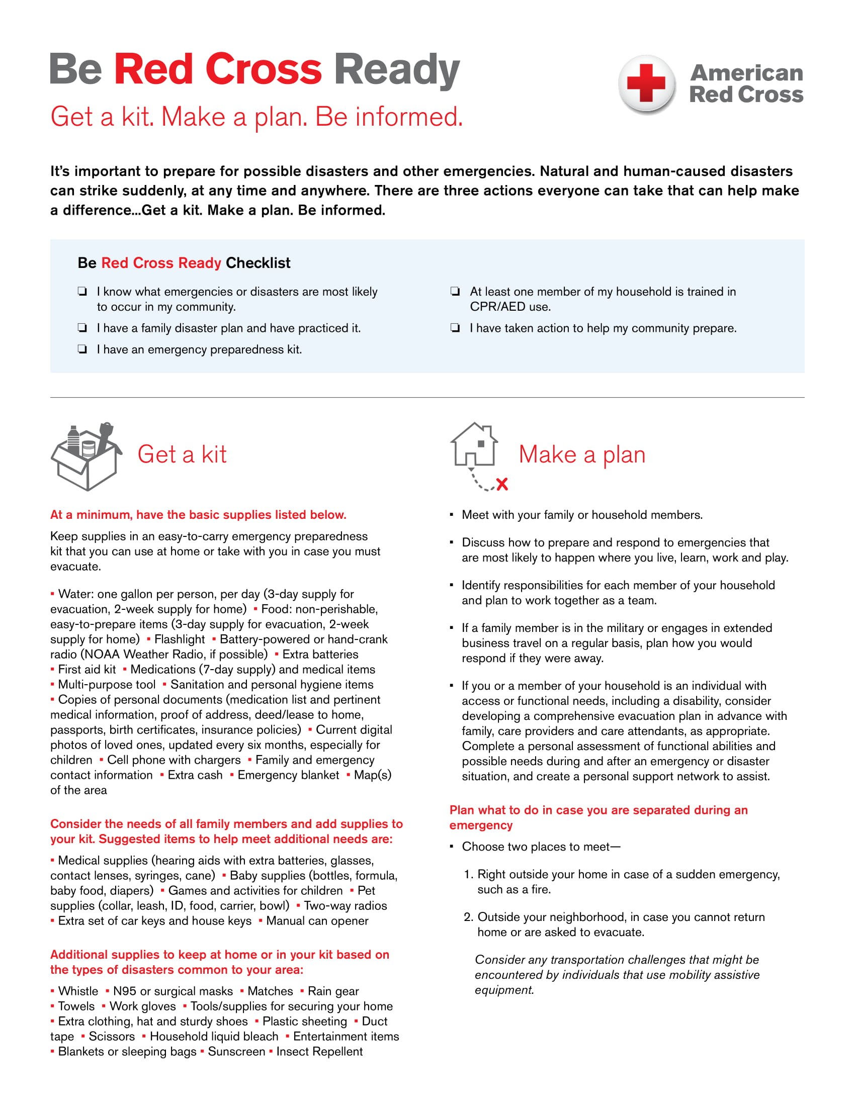 "First page of ""Be Red Cross Ready"" pdf"